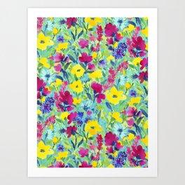 Wild Garden Aqua Art Print