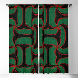 Green And Red Ornaments Stripes Japanese Shima-Shima Pattern Blackout Curtain
