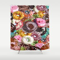 donuts Shower Curtains featuring Donuts by Tina Mooney