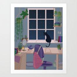 Cat & plant hoarder room Art Print