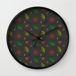 Fall Leaves on Linen Wall Clock