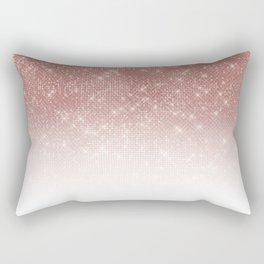 Girly Faux Rose Gold Sequin Glitter White Ombre Rectangular Pillow