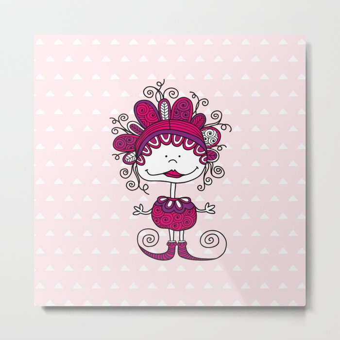Doodle Doll with Curls on Pink Background Metal Print