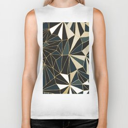 New Art Deco Geometric Pattern - Emerald green and Gold Biker Tank