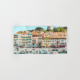 Cannes City Print, Luxurious Yachts And Boats, French Riviera, Travel Print, City Marina Port In France Poster, Colored Houses Photography, Colorful Home, Home Decor, Wall Art Print Hand & Bath Towel