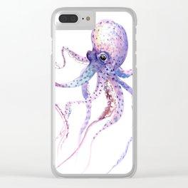 Octopus, soft purple pink aquatic animal design Clear iPhone Case