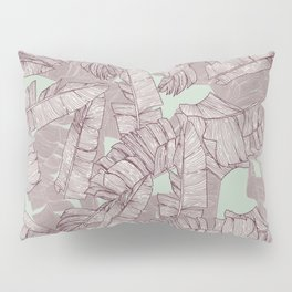 Artsy Hand Drawn Burgundy Banana Leaves Mint Green Pillow Sham