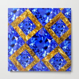 ASYMMETRIC ROYAL BLUE SAPPHIRE GEMSTONES ART ON GOLD Metal Print