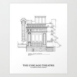Chicago Theatre Blueprint B&W - South Elevation Art Print