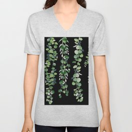 Eucalyptus Sur Fond Noir Unisex V-Neck