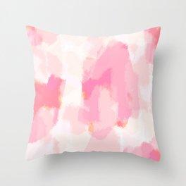 Adonia - blush pink abstract art Throw Pillow