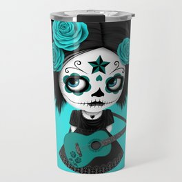 Teal Blue Big Eyes Sugar Skull Girl Playing the Guitar Travel Mug