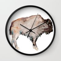 buffalo Wall Clocks featuring Buffalo by Elena Sandovici