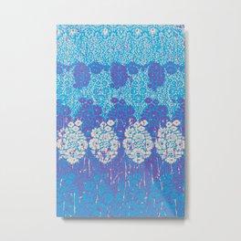 floral paisley in batik blues Metal Print