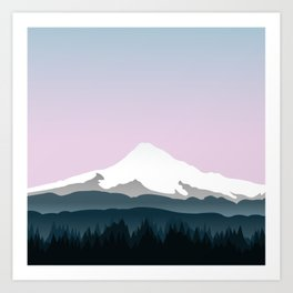 Mount Hood Forest - Pink Haze Art Print