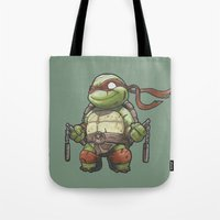 tmnt Tote Bags featuring TMNT by jeremiah cortez