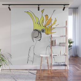 Yellow Crested Cockatoo in blue Wall Mural