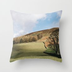 Sunlit tree and hillside. Edale, Derbyshire, UK. Throw Pillow