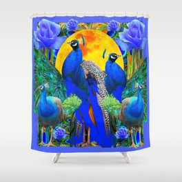 BLUE ROSES & BLUE GREEN PEACOCK FLORAL PATTERN Shower Curtain