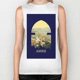 Vintage Litho Travel ad Assisi Italy Biker Tank