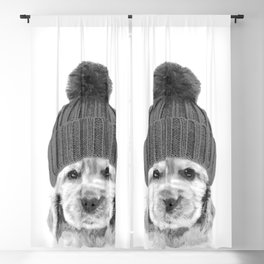 Black and White Cocker Spaniel Blackout Curtain