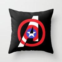 avenger Throw Pillows featuring Captain Avenger by foreverwars