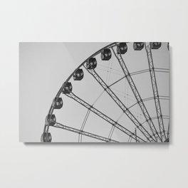 Black and White Wheel Metal Print