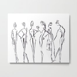 Girls Backstage Sketched Metal Print