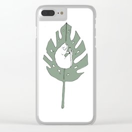 White Cat Sleeping on a Leaf Clear iPhone Case