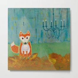 Fox in the City Abstract Art Metal Print
