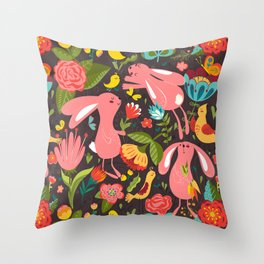 Bunnies in the wild Throw Pillow