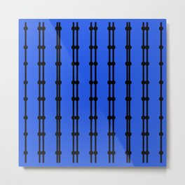 Ornaments Vint. blue with black lines Metal Print