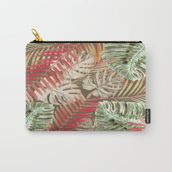 Jungle Tangle Red On Brown Carry-All Pouch