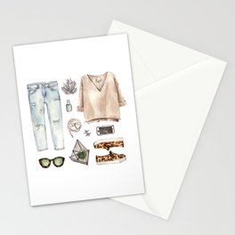 watercolor sketch. fashion outfit, casual style. Stationery Cards