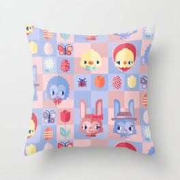 Happy Easter! Pattern Throw Pillow
