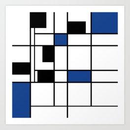 Indigo , abstract , geometric Art Print