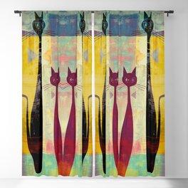 Mid-Century Modern Art 4 Cats - Graffiti Style Blackout Curtain