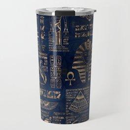 Egyptian hieroglyphs and deities-gold on blue marble Travel Mug