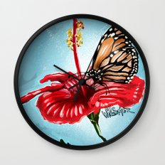 Butterfly on flower 2 Wall Clock