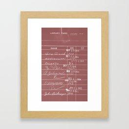 Library Card 23322 Negative Red Framed Art Print
