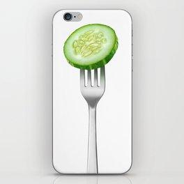 Cucumber slice on a fork iPhone Skin
