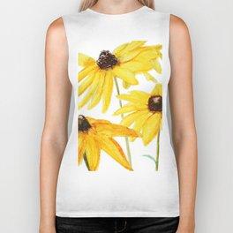 yellow flower sun choke flower Biker Tank