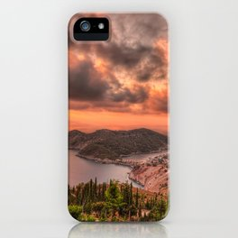 The sunset above village Assos in Kefalonia island, Greece iPhone Case