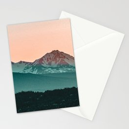 Grainy Sunset Mountain View // Textured Landscape Photograph of the Beautiful Orange and Blue Skies Stationery Cards