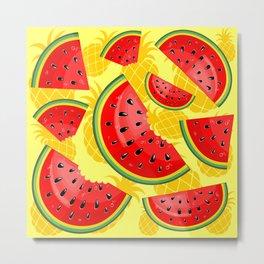 Watermelon and Pineapple Juicy Pattern Metal Print