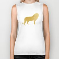 gold foil Biker Tanks featuring Gold Foil Lion by Mod Pop Deco