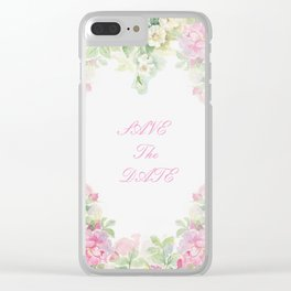 Save The Date  - Garland of roses Watercolor painting Clear iPhone Case