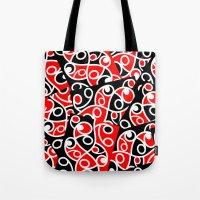 maori Tote Bags featuring Maori Kowhaiwhai Patchwork Pattern by mailboxdisco