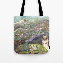 squirrels, aqua Tote Bag