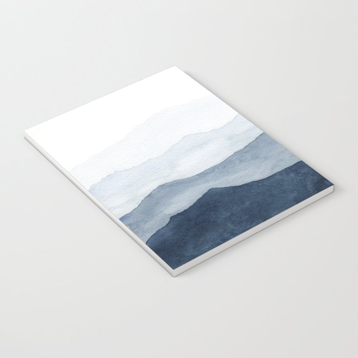 Indigo Abstract Watercolor Mountains Notebook